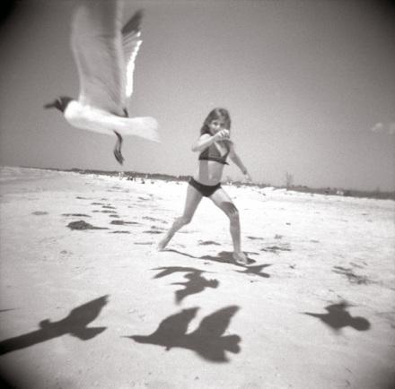 S on the beach